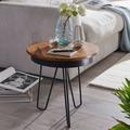 Wohnling Beistelltisch 43 x 45 x 43 cm WL5.680 Sheesham Holz Metall Couchtisch, Industrial Style Echtholz Tischchen Wohnzimmer, Holztisch Sofatisch Metallbeine, Anstelltisch Dekotisch Rosenholz braun