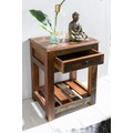 Wohnling Beistelltisch DELHI 45 x 37 x 60 cm Massiv-Holz Nachttisch mit Ablage & Schub | Nachtkommode Boxspring Shabby | Nachtschrank Mango Recycling Bootsholz