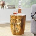 Wohnling Beistelltisch FACE 35x35x39 cm Aluminium Couchtisch Gold orientalisch, Sofatisch mit Gesicht aus Metall, Designer Ablagetisch modern, Kleiner Anstelltisch schmal gold