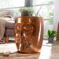 Wohnling Beistelltisch FACE 35x35x39 cm Aluminium Couchtisch Kupfer orientalisch, Sofatisch mit Gesicht aus Metall, Designer Ablagetisch modern, Kleiner Anstelltisch schmal kupfer