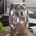 Wohnling Beistelltisch JADA 30x47x30cm Aluminium Silber Dekotisch orientalisch rund, Kleiner Hammerschlag Abstelltisch, Designer Ablagetisch Metall modern, Anstelltisch schmal silber