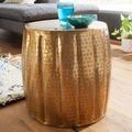 Wohnling Beistelltisch JAMAL 38x42x38 cm Aluminium Gold Orientalisch Rund, Kleiner Sofatisch Metall, Designer Ablagetisch Modern, Anstelltisch Schmal, Wohnzimmertisch Couchtisch gold