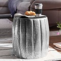 Wohnling Beistelltisch JAMAL 38x42x38 cm Aluminium Silber Orientalisch Rund, aus Metall