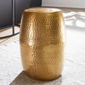 Wohnling Beistelltisch PEDRO 30x49,5x30cm Aluminium Gold Dekotisch orientalisch rund, Kleiner Hammerschlag Abstelltisch, Designer Ablagetisch Metall modern, Anstelltisch schmal gold