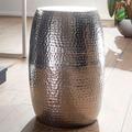 Wohnling Beistelltisch PEDRO 30x49,5x30cm Aluminium Silber Dekotisch orientalisch rund, Kleiner Hammerschlag Abstelltisch, Designer Ablagetisch Metall modern, Anstelltisch schmal silber