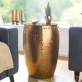 Wohnling Beistelltisch PEDRO 41,5x62x41,5cm Aluminium Gold Dekotisch orientalisch rund, Kleiner Hammerschlag Abstelltisch, Designer Ablagetisch Metall modern, Anstelltisch schmal gold