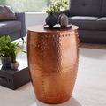 Wohnling Beistelltisch PEDRO 41,5x62x41,5cm Aluminium Kupfer Dekotisch orientalisch rund
