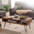 Wohnling Couchtisch 100x40x50 cm Sheesham Massivholz / Metall Sofatisch, Design Wohnzimmertisch Rechteckig, Kaffeetisch Massiv, Großer Tisch Wohnzimmer