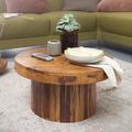 Wohnling Couchtisch 60x30x60 cm Sheesham Massivholz Sofatisch, Design Wohnzimmertisch Rund, Stubentisch Kaffeetisch Braun, Tisch Wohnzimmer