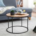 Wohnling Couchtisch 60x43x60 cm Akazie Massivholz / Metall Sofatisch, Design Wohnzimmertisch Rund, Kaffeetisch Massiv, Kleiner Tisch Wohnzimmer