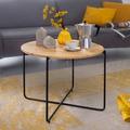 Wohnling Couchtisch 60x45,5x60 cm Akazie Massivholz / Metall Sofatisch, Design Wohnzimmertisch Rund, Kaffeetisch Massiv, Kleiner Tisch Wohnzimmer