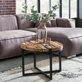 Wohnling Couchtisch BELLARY 60x46x60 cm Rund Sofatisch mit Metallgestell, Massiv Holz Wohnzimmertisch, Holztisch Mordern, Tisch Wohnzimmer Beistelltisch braun