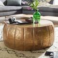 Wohnling Couchtisch JAMAL 72x31x72 cm Aluminium Gold Beistelltisch orientalisch rund, aus Metall