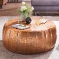 Wohnling Couchtisch JAMAL 72x31x72 cm Aluminium Kupfer Beistelltisch orientalisch rund, Flacher Sofatisch Metall, Design Wohnzimmertisch modern, Loungetisch Stubentisch klein kupfer