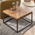 Wohnling Couchtisch Mango Massivholz 55x40x55 cm Tisch mit Metallgestell, Wohnzimmertisch Quadratisch im Industrial Design, Massiver Sofatisch Modern