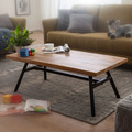 Wohnling Couchtisch Mango Massivholz / Metall 110x42,5x60 cm Wohnzimmertisch, Tisch Rustikal Echtholz und Edelstahl, Moderner Sofatisch Massiv