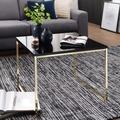 Wohnling Couchtisch RIVA 60x50x60 cm Metall Holz Sofatisch Schwarz / Gold, Design Wohnzimmertisch quadratisch, Stubentisch mit Metallgestell, Kaffeetisch klein, Wohnzimmer Loungetisch modern gold
