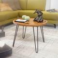 Wohnling Couchtisch Sheesham Massivholz 60x45x60 cm Wohnzimmertisch Rund, Sofatisch mit Haarnadelbeine, Kaffeetisch aus Holz und Metall
