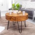 Wohnling Couchtisch Sheesham Massivholz / Metall 60x44,5x60 cm Tisch Wohnzimmer, Braun