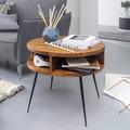 Wohnling Couchtisch Sheesham Massivholz / Metall 60x45x60 cm Tisch Wohnzimmer, Design Beistelltisch mit Ablage, Kleiner Wohnzimmertisch Rund Braun