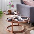 Wohnling Couchtisch SUSI mit 3 Tischplatten Schwarz / Kupfer 58 x 43 x 58 cm, Beistelltisch Rund, Design Wohnzimmertisch Glas / Metall, Designer Glastisch Sofatisch modern, Kleiner Loungetisch kupfer