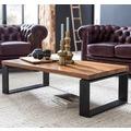 Wohnling Couchtisch WL5.650 Sheesham 115x35x60 cm Massiv Holz Sofatisch mit Metallgestell, braun