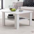 Wohnling Couchtisch WL5.831 Weiß 70x45x70 cm Design Holztisch mit Ablage, Wohnzimmertisch Coffee Table, Sofatisch Loungetisch Holz, Kaffeetisch Stubentisch mit Stauraum, Tisch Wohnzimmer weiß