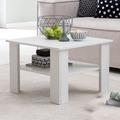 Wohnling Couchtisch WL5.834 Weiß 60x42x60 cm Design Holztisch mit Ablage, Wohnzimmertisch Coffee Table, Sofatisch Loungetisch Holz, Kaffeetisch Stubentisch mit Stauraum, Tisch Wohnzimmer weiß
