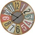 Wohnling Deko Vintage Wanduhr XXL Ø 60 cm Industrial Time Metall bunt, Große Uhr rustikal Dekouhr rund, Design Retro Küchenuhr für Küche & Wohnzimmer