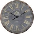 Wohnling Deko Vintage Wanduhr XXL Ø 60 cm Paris Holz schwarz römische Ziffern, Große Uhr rustikal Dekouhr rund, Design Retro Küchenuhr für Küche & Wohnzimmer