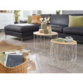 Wohnling Design Beistelltisch 2er Set aus Körben Weiß / Eiche, Moderne Korbtische mit abnehmbaren Tablett, Satztisch 2-teilig mit Stauraum