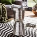 Wohnling Design Beistelltisch DELYLA 43x59x43 cm Aluminium Silber, Dekotisch orientalisch rund, Designer Ablagetisch Metall modern, Anstelltisch schmal, Kleiner Hammerschlag Abstelltisch silber