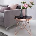 Wohnling Design Beistelltisch Dreibein Metall Glas ø 42 cm Schwarz / Kupfer, Wohnzimmertisch verspiegelt Couchtisch modern, Glastisch Kaffeetisch rund