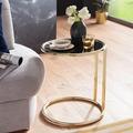 Wohnling Design Beistelltisch LEONA Ø 45 cm Couchtisch Rund Schwarz/Matt Gold, Designer Glas-Wohnzimmertisch modern, Glastisch mit Metallgestell, Kleiner Sofatisch, Runder Metalltisch Wohnzimmer gold