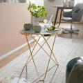Wohnling Design Beistelltisch Marmor Optik Weiß Rund Ø55 cm Gold Metallgestell, Kleiner Wohnzimmertisch, Couchtisch weiß