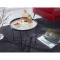 Wohnling Design Beistelltisch Rund Ø46 cm Marmor Optik Weiß, Wohnzimmertisch Metallbeine Schwarz, Couchtisch weiß