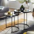 Wohnling Design Beistelltisch Rund Ø 50/42 cm - 2 teilig Schwarz mit Spiegel Glas, Wohnzimmertisch 2er Set, Satztisch verspiegelt, Couchtisch schwarz
