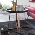Wohnling Design Beistelltisch Rund Ø58,5 cm Gold mit Glas Spiegel, Wohnzimmertisch Schwarz mit Metall-Gestell, Kleiner Couchtisch schwarz