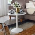 Wohnling Design Beistelltisch Weiß Holz Optik Rund Ø 48cm, Kleiner Couchtisch, Moderner Wohnzimmertisch, Sofatisch weiß