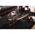 Wohnling Design Couchtisch Marmor Optik Schwarz - Oval 110 x 56 cm mit Kupfer Metallgestell, Großer Wohnzimmertisch, Lounge Tisch schwarz