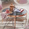 Wohnling Design Couchtisch Marmor Optik Schwarz - Rund Ø82,5 cm mit Kupfer Metallgestell, Großer Wohnzimmertisch, Lounge Tisch schwarz