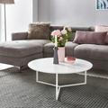 Wohnling Design Couchtisch MDF Holz weiß matt Gestell Metall ø 80 cm, Wohnzimmertisch lackiert Sofatisch modern, Kaffeetisch rund Loungetisch