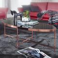 Wohnling Design Couchtisch Oval 110 x 56 cm Spiegel Glas, Wohnzimmertisch mit Metallgestell in Kupfer, Glastisch Wohnzimmer schwarz