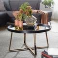 Wohnling Design Couchtisch Rund Ø 78 cm Dunkel-Gold mit Spiegel Glasplatte, Wohnzimmertisch Schwarz Metall-Gestell, Großer Beistelltisch schwarz