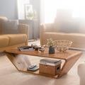 Wohnling Design Couchtisch Sheesham Massivholz 115x36x60 cm Sofatisch, Wohnzimmertisch Trapezform