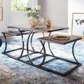 Wohnling Design Couchtisch WL5.647 Sheesham 120x50x45cm Massiv Holz Sofatisch, Holztisch 3-teilig mit Metallgestell, Wohnzimmertisch Rechteckig Massivholz, Holztisch Modern, Tisch Braun Wohnzimmer braun