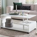 Wohnling Design Couchtisch WL5.734 105 x 48,5 x 60 cm Weiß Drehbar mit Rollen, Wohnzimmertisch Coffee Table, Sofatisch Loungetisch Holz, Kaffeetisch mit Stauraum  weiß