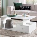 Wohnling Design Couchtisch WL5.736 105 x 43 x 60 cm Holz Weiß Matt mit Schublade, Wohnzimmertisch Coffee Table, Sofatisch Loungetisch Holz, Kaffeetisch mit Stauraum  weiß