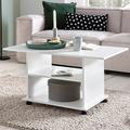 Wohnling Design Couchtisch WL5.738 95 x 51 x 54,5 cm Weiß Drehbar mit Rollen, Wohnzimmertisch Coffee Table, Sofatisch Loungetisch Holz, Kaffeetisch mit Stauraum  n/a