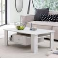 Wohnling Design Couchtisch WL5.740 Holz 105x39,5x67,5 cm Weiß Matt mit Schublade, Wohnzimmertisch Coffee Table, Sofatisch Loungetisch Holz, Kaffeetisch Stubentisch mit Stauraum, Tisch Wohnzimmer weiß